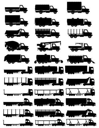 semi trailer: set icons trucks semi trailer black silhouette vector illustration isolated on white background
