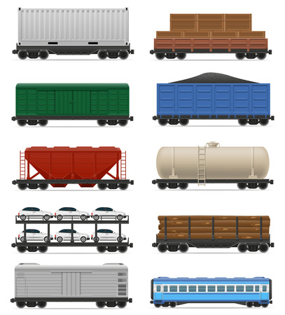 railway transport: set icons railway carriage train vector illustration isolated on white background