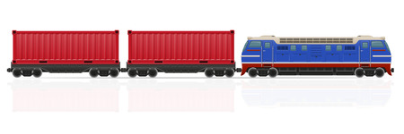 wagons: railway train with locomotive and wagons vector illustration isolated on white background