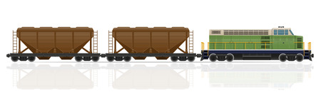 the locomotive isolated: railway train with locomotive and wagons vector illustration isolated on white background
