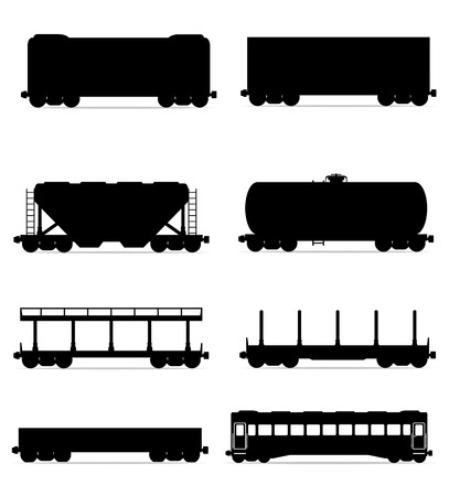 set icons railway carriage train black outline silhouette vector illustration isolated on white background