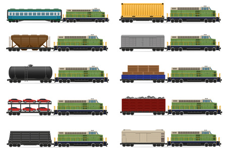 wagons: set icons railway train with locomotive and wagons vector illustration isolated on white background