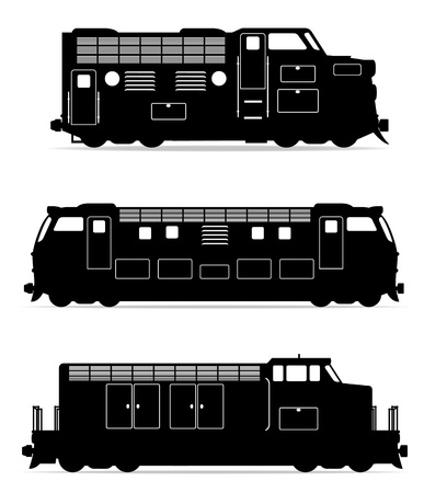 the locomotive isolated: set icons railway locomotive train black outline silhouette vector illustration isolated on white background