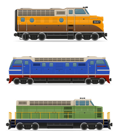the locomotive isolated: set icons railway locomotive train vector illustration isolated on white background Stock Photo