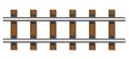sleepers: railway rails and wooden sleepers vector illustration isolated on white background Stock Photo