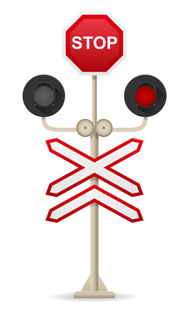 red sign: railroad crossing vector illustration isolated on white background