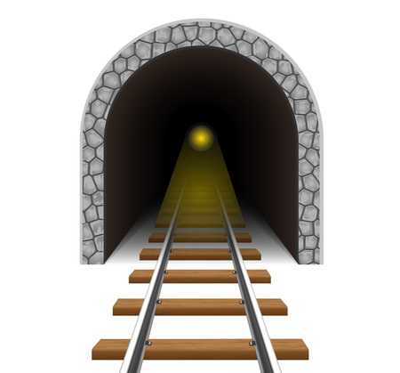 mountain pass: railway tunnel vector illustration isolated on white background