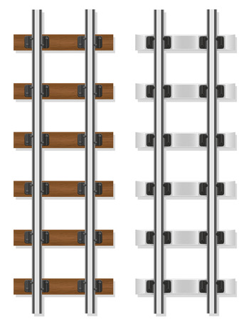 sleepers: railway rails wooden and concrete sleepers vector illustration isolated on white background Stock Photo