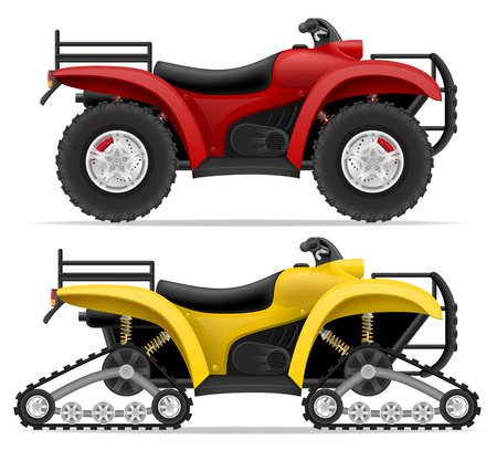 atv: atv motorcycle on four wheels and trucks off roads vector illustration isolated on white background