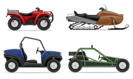 set icons atv automobile off roads vector illustration isolated on white background Stock Photo