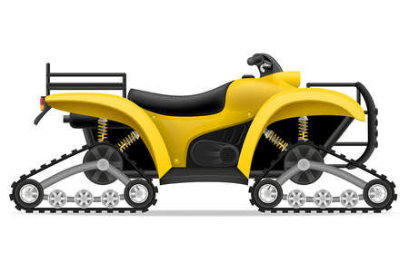 atv: atv motorcycle on four tracks off roads vector illustration isolated on white background Stock Photo