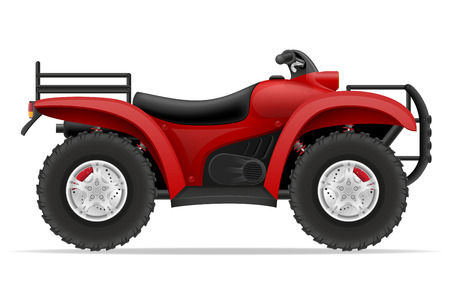 atv: atv motorcycle on four wheels off roads vector illustration isolated on white background