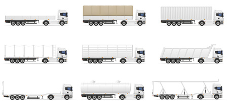commercial van: set icons trucks semi trailer vector illustration isolated on white background Stock Photo