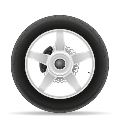 puncture: motorcycle wheel tire from the disk illustration isolated on white background