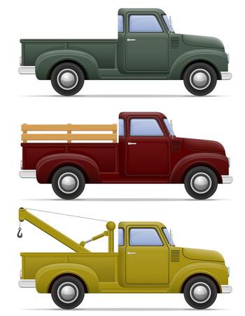 pickup: old retro car pickup illustration isolated on white background