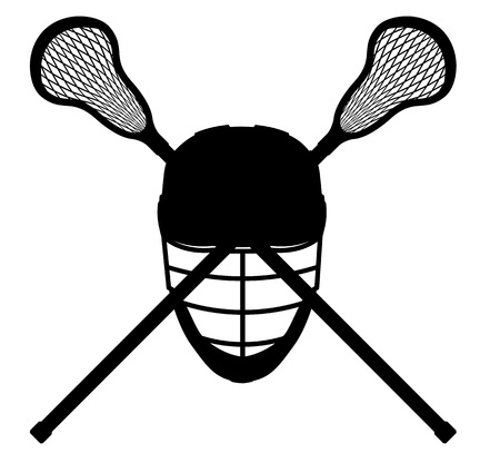 recreational pursuit: lacrosse equipment black outline silhouette illustration isolated on white background