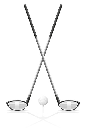 hole in one: golf club and ball vector illustration isolated on white background