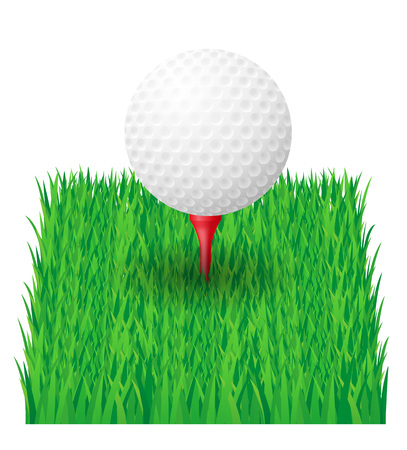 hole in one: golf ball on the green grass vector illustration