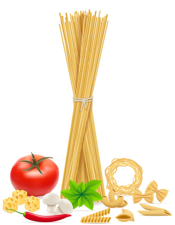 italian pasta: pasta with vegetables vector illustration isolated on white background