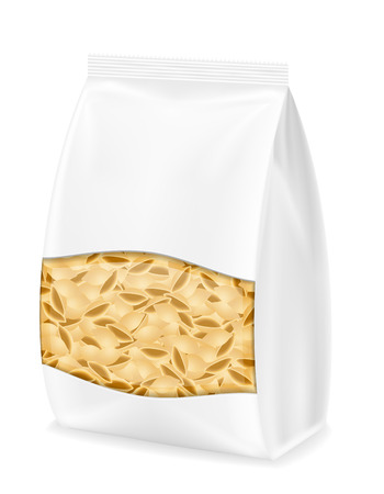 chinese food container: pasta in packaging vector illustration isolated on white background