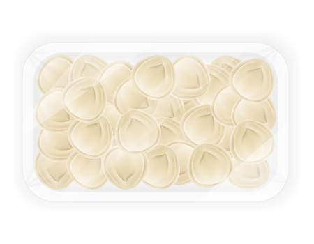 packaged: dumplings pelmeni of dough with a filling in packaged vector illustration isolated on white background