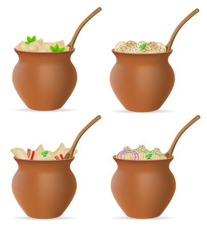greens: dumplings of dough with a filling and greens in clay pot set icons vector illustration isolated on white background