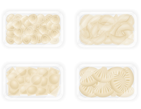dough: dumplings of dough with a filling in packaged set icons vector illustration isolated on white background