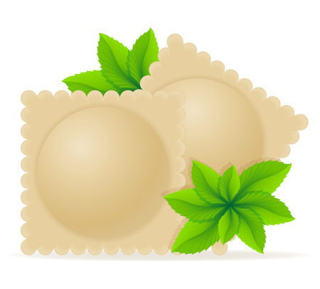 greens: dumplings ravioli of dough with a filling and greens vector illustration isolated on white background