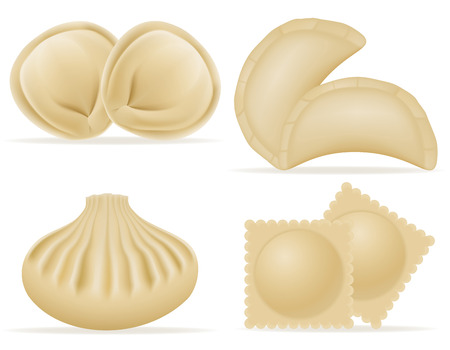 dumplings of dough with a filling set icons vector illustration isolated on white background Stock Illustration - 57256444