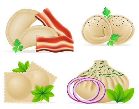 stuffing: dumplings of dough with a filling and greens set icons vector illustration isolated on white background Stock Photo