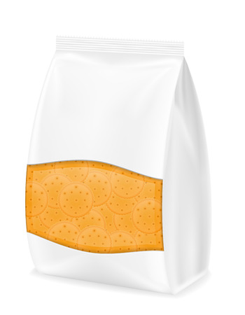 white paper bag: biscuit in packaging vector illustration isolated on white background Stock Photo