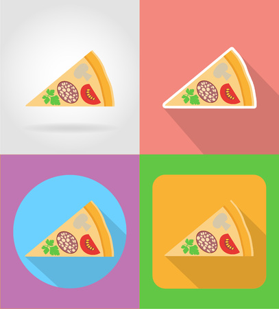 italian sausage: pizza fast food flat icons with the shadow vector illustration isolated on background