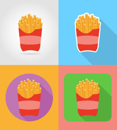 fried potatoes: fried potatoes fast food flat icons with the shadow vector illustration isolated on background Stock Photo