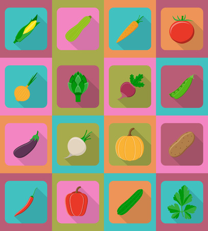 harvesting: vegetables flat icons with the shadow vector illustration isolated on background