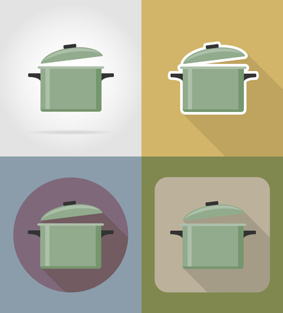 saucepan: saucepan objects and equipment for the food vector illustration isolated on background Stock Photo