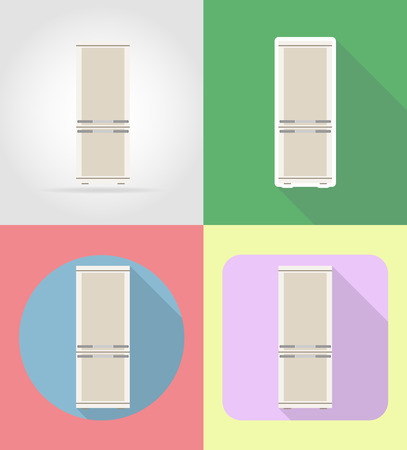 refrigerator kitchen: refrigerator household appliances for kitchen flat icons vector illustration isolated on background