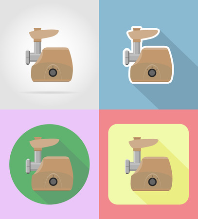 stir: meat grinder household appliances for kitchen flat icons vector illustration isolated on background