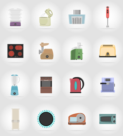 modern kitchen interior: household appliances for kitchen flat icons vector illustration isolated on background