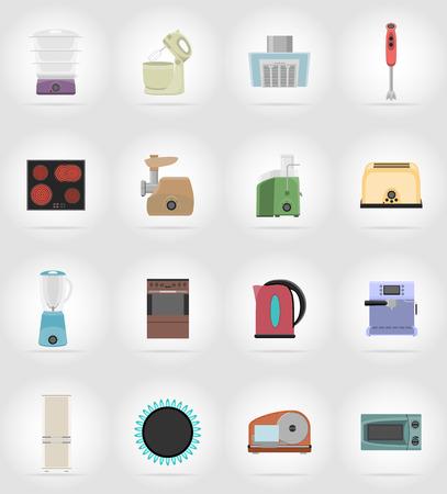 cartoon kitchen: los aparatos domésticos de iconos planos ilustración vectorial de la cocina aislado en el fondo