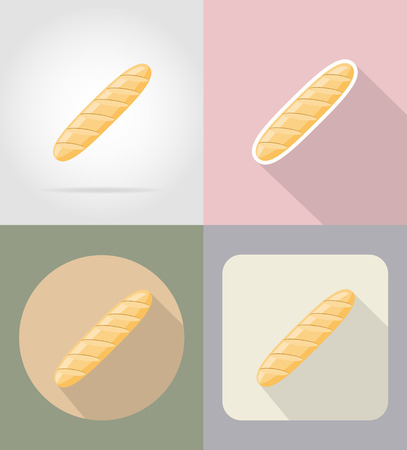 grocer: bread loaf food and objects flat icons vector illustration isolated on background Stock Photo