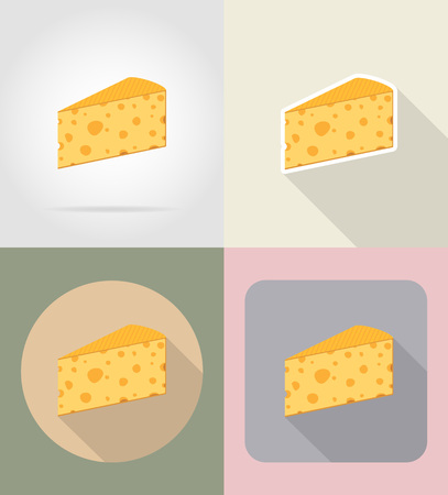 grocer: piece of cheese food and objects flat icons vector illustration isolated on background Stock Photo