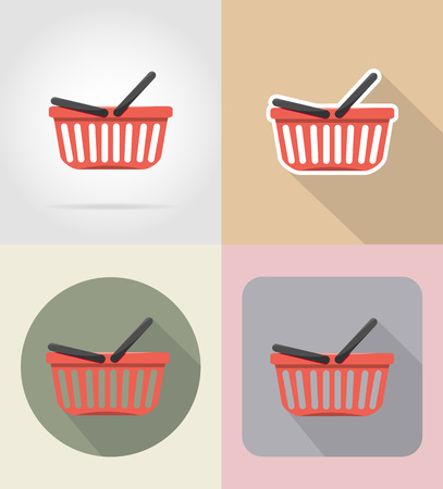 grocer: basket of products in supermarket food and objects flat icons vector illustration isolated on background Stock Photo