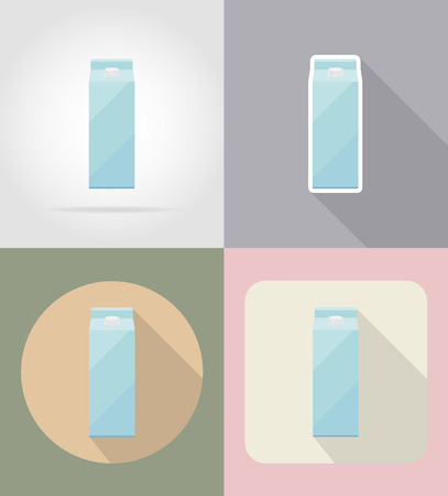 grocer: milk packaging drink and objects flat icons vector illustration isolated on background