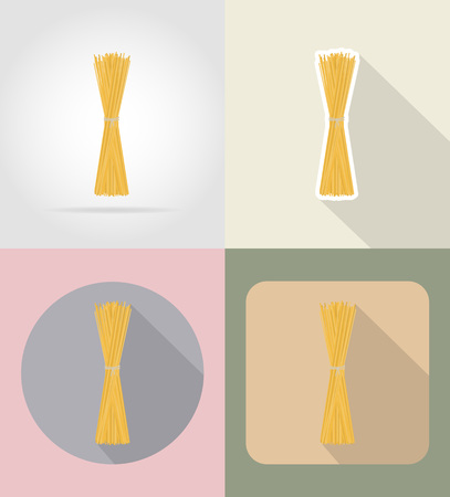 grocer: pasta spaghetti food and objects flat icons vector illustration isolated on background