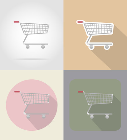 grocer: trolley of products in supermarket food and objects flat icons vector illustration isolated on background