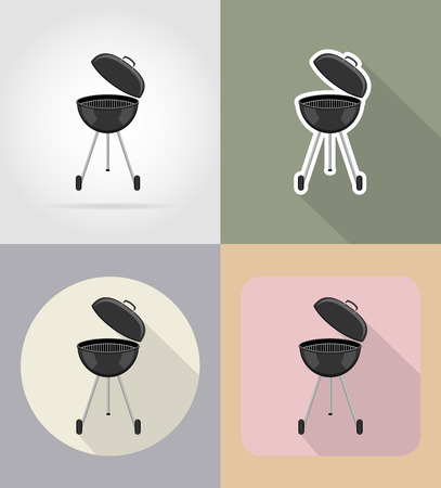 grocer: barbecue grill food and objects flat icons vector illustration isolated on background