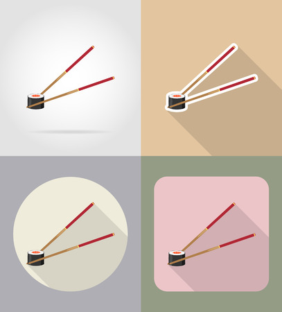 grocer: sushi with chopsticks food and objects flat icons vector illustration isolated on background