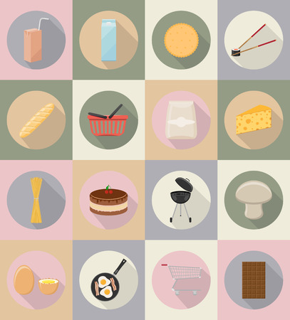 grocer: food and objects flat icons vector illustration isolated on background