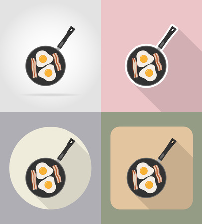 grocer: eggs with bacon in a frying pan food and objects flat icons vector illustration isolated on background