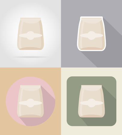 grocer: packaging for products food and objects flat icons vector illustration isolated on background